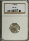 Shield Nickels: , 1874 5C MS65 NGC. Lovely areas of mint-green, lilac, and pink-goldintersect on this stunning Gem. A well-struck piece, alt...