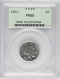 Proof Buffalo Nickels: , 1937 5C PR65 PCGS. Light chestnut and pearl-gray toning drapes thisundisturbed and gently shimmering Gem. The second of ju...