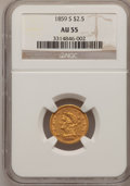 Liberty Quarter Eagles, 1859-S $2 1/2 AU55 NGC....