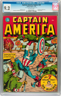 Captain America Comics #20 (Timely, 1942) CGC NM- 9.2 Off-white pages