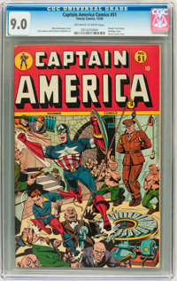 Captain America Comics #51 (Timely, 1945) CGC VF/NM 9.0 Off-white to white pages