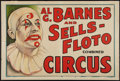 """Movie Posters:Miscellaneous, Circus Poster (Al G. Barnes and Sells-Floto, 1930s). Poster (28"""" X42""""). Miscellaneous.. ..."""