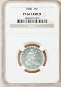 Proof Seated Quarters, 1880 25C PR66 Cameo NGC. NGC Census: (16/17). PCGS Population(12/7). (#85581)...