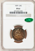 Proof Seated Quarters, 1879 25C PR61 NGC. CAC. NGC Census: (13/234). PCGS Population(24/248). Mintage: 1,100. Numismedia Wsl. Price for problem f...