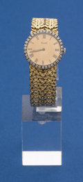 Timepieces:Wristwatch, Piaget Ladies 18k Gold Bracelet Wristwatch Diamond Bezel. ...