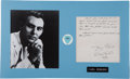 Music Memorabilia:Autographs and Signed Items, Carl Perkins Handwritten Letter with Pick Display....