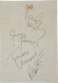 Music Memorabilia:Autographs and Signed Items, The Beatles Autographs (1964)....