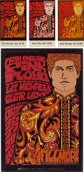 Music Memorabilia:Posters, Pink Floyd Fillmore Concert Poster and Ticket Group BG-90 (BillGraham, 1967).... (Total: 4 )