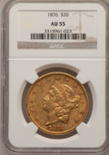 Liberty Double Eagles: , 1876 $20 AU55 NGC. NGC Census: (220/1666). PCGS Population(219/945). Mintage: 583,905. Numismedia Wsl. Price for problem f...