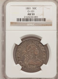 Early Half Dollars: , 1801 50C AU53 NGC. O-101. NGC Census: (1/8). PCGS Population (2/8).Mintage: 30,289. Numismedia Wsl. Price for problem free...