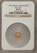 California Fractional Gold, 1855 25C Liberty Round 25 Cents, BG-226A, R.5, MS63 NGC....
