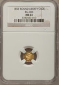 California Fractional Gold, 1855 50C Liberty Round 50 Cents, BG-406, High R.6, MS63 NGC....