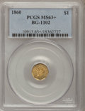 California Fractional Gold, 1860 $1 Liberty Octagonal 1 Dollar, BG-1102, R.4, MS63+ PCGS....