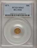 California Fractional Gold, 1871 50C Liberty Round 50 Cents, BG-1046, Low R.7, MS63 PCGS....