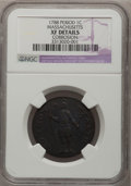 Colonials: , 1788 1C Massachusetts Cent, Period--Corrosion--NGC Details. XF. NGCCensus: (12/52). PCGS Population (53/129). (#311.51)...