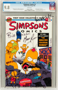 Simpsons Comics #1 Signed by Matt Groening and Others (Bongo Comics Group, 1993) CGC NM/MT 9.8 White pages