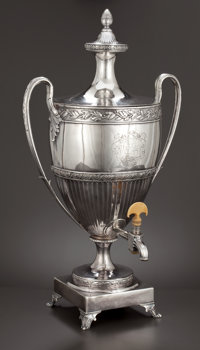 A GEORGE III SILVER HOT WATER URN John Scofield (Schofield), London, England, circa 1790-1791 Marks: (lion pas