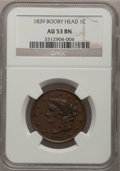 Large Cents: , 1839 1C Booby Head AU53 NGC. NGC Census: (8/117). PCGS Population(2/95). Mintage: 3,128,661. Numismedia Wsl. Price for pro...