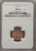 Indian Cents: , 1862 1C MS63 NGC. NGC Census: (518/1366). PCGS Population(455/836). Mintage: 28,075,000. Numismedia Wsl. Price forproblem...