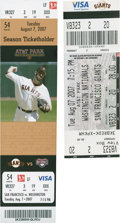 Baseball Collectibles:Tickets, 2007 Barry Bonds Home Run Record Full Tickets Lot of 2....