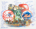 Baseball Collectibles:Others, New York Yankees and Mets Multi Signed Lithograph....
