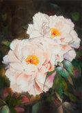 Fine Art - Painting, American:Contemporary   (1950 to present)  , THE COLLECTION OF PAUL GREGORY AND JANET GAYNOR. JACK BAKER(American, b. 1925). Pink Peonies, 1986. Watercolor, g...