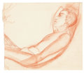 Fine Art - Work on Paper:Drawing, THE COLLECTION OF PAUL GREGORY AND JANET GAYNOR. Attributedto ADRIAN (American, 1903-1959). Drawing of a Young Man ...