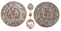 Decorative Arts, Continental:Other , The Collection of Paul Gregory and Janet Gaynor. A PAIR OFCONTINENTAL SILVER METAL ROUNDELS TOGETHER WITH AN UNUSUAL SI...(Total: 3 Items)