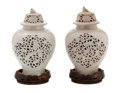 Asian:Chinese, The Collection of Paul Gregory and Janet Gaynor. A PAIR OFCHINESE CERAMIC LIDDED INCENSE VESSELS . Maker unidentified...(Total: 6 Items)