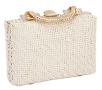 THE COLLECTION OF PAUL GREGORY AND JANET GAYNOR  JANET GAYNOR'S ITALIAN WHITE WICKER STRAW WOVEN PURSE Rodo