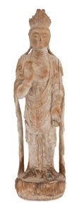 Sculpture, The Collection of Paul Gregory and Janet Gaynor. A CARVED WOOD FIGURE OF A QUANYIN . China. 20 x 5-1/2 inches (50.8 x ...