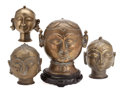 Miscellaneous, The Collection of Paul Gregory and Janet Gaynor. A GROUP OF4 SMALL BRASS BUDDHA HEADS . India, 19th/20th century. Var...(Total: 5 Items)