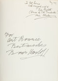 Movie/TV Memorabilia:Autographs and Signed Items, Boris Karloff and Mae Clarke Signed Page, Bound into Frankenstein Book....