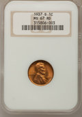 Lincoln Cents: , 1937-S 1C MS67 Red NGC. NGC Census: (746/0). PCGS Population (153/0). Mintage: 34,500,000. Numismedia Wsl. Price for proble...