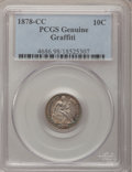 Seated Dimes, 1878-CC 10C --Graffiti--PCGS Genuine. The PCGS number ending in .98suggests Damage as the reason, or perhaps one of the rea...