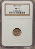 Seated Half Dimes: , 1856 H10C MS63 NGC. NGC Census: (74/199). PCGS Population (65/115).Mintage: 4,880,000. Numismedia Wsl. Price for problem f...