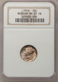 1916 10C MS67 Full Bands NGC. NGC Census: (72/12). PCGS Population (90/8). Mintage: 22,180,080. Numismedia Wsl. Price fo...