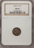 Seated Half Dimes: , 1868-S H10C MS63 NGC. NGC Census: (23/56). PCGS Population (18/26).Mintage: 280,000. Numismedia Wsl. Price for problem fre...