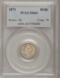 Seated Half Dimes: , 1873 H10C MS64 PCGS. PCGS Population (25/16). NGC Census: (26/23).Mintage: 712,000. Numismedia Wsl. Price for problem free...