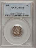 Bust Dimes, 1833 10C PCGS Genuine. The PCGS number ending in .92 suggests Cleaned as the reason, or perhaps one of the reasons, that PC...
