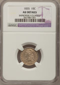 Bust Dimes, 1835 10C --Improperly Cleaned--NGC Details. AU. NGC Census:(15/351). PCGS Population (44/255). Mintage: 1,410,000. Numismed...