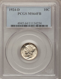 1924-D 10C MS64 Full Bands PCGS. PCGS Population (153/117). NGC Census: (122/79). Mintage: 6,810,000. Numismedia Wsl. Pr...