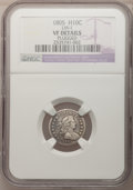 Early Half Dimes, 1805 H10C --Plugged--NGC Details. VF. LM-1. NGC Census: (0/18).PCGS Population (4/31). Mintage: 15,600. Numismedia Wsl. Pr...