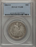 Seated Half Dollars: , 1863-S 50C VG8 PCGS. PCGS Population (2/128). NGC Census: (0/81).Mintage: 916,000. Numismedia Wsl. Price for problem free ...