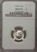 Roosevelt Dimes: , 1963-D 10C MS67 Full Bands NGC. NGC Census: (18/0). PCGS Population(3/0). Mintage: 421,476,544. (#85127). From The Dr. ...