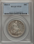 Seated Half Dollars: , 1864-S 50C VF25 PCGS. PCGS Population (2/49). NGC Census: (0/37).Mintage: 658,000. Numismedia Wsl. Price for problem free ...