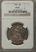 Proof Seated Half Dollars: , 1870 50C PR61 NGC. NGC Census: (8/105). PCGS Population (23/146).Mintage: 1,000. Numismedia Wsl. Price for problem free NG...