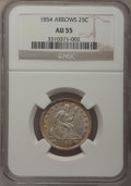 Seated Quarters: , 1854 25C Arrows AU55 NGC. NGC Census: (46/284). PCGS Population(57/247). Mintage: 12,380,000. Numismedia Wsl. Price for pr...