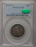 Seated Quarters: , 1878-CC 25C AU53 PCGS. CAC. PCGS Population (5/200). NGC Census: (2/192). Mintage: 996,000. Numismedia Wsl. Price for probl...