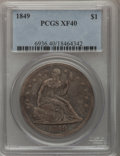 Seated Dollars: , 1849 $1 XF40 PCGS. PCGS Population (28/241). NGC Census: (5/213).Mintage: 62,600. Numismedia Wsl. Price for problem free N...